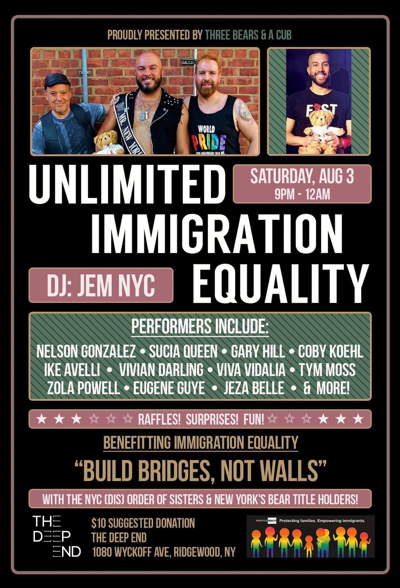 Three Bears & A Cub & Sobel Promotions Present 'Unlimited Immigration Equality': A Benefit For Immigration Equality